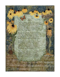 This is text surrounded by yellow rudbeckia, bees, and a small child's hand holding a flower.