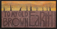 Trees silhoueted against sunset, brown earth with text.