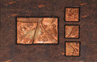 Abstract images with copper attached onto fabric.