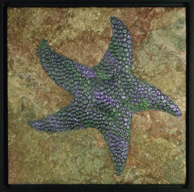 Purple and green textured stuffed sea star on a rocky background